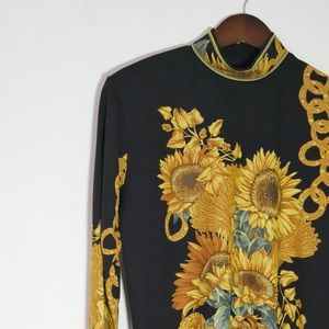 Vintage Sunflower Mock Neck Long Sleeve Top